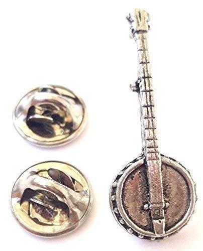 Banjo handgefertigt in massivem Zinn in Großbritannien Anstecknadel + 59mm Button + Geschenk Tüte