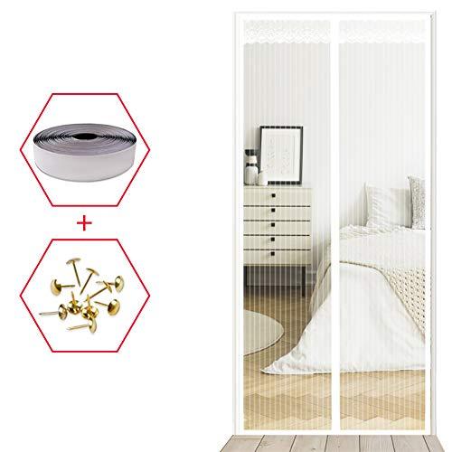 YXDDG Magnetische bildschirmtür Weiß Schwerer netzvorhang Haustier und kinderfreundlich Full-Frame-siegel fliegen mücken Bug insektenschutz für schiebetüren-Weiß 110x220cm(43x87inch)
