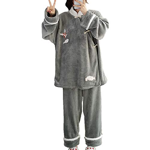 Damen Flanell Pyjama Set Plus Kaschmir Verdicken Lose Heimanzug