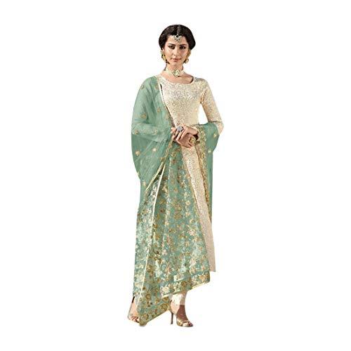 Indisches ethnisches Pakistanisches gerades Anzug, Salwar Kameez, Partykleidung, Designer-Satin-Stickerei, Partykleidung, Bollywood Banarasi...