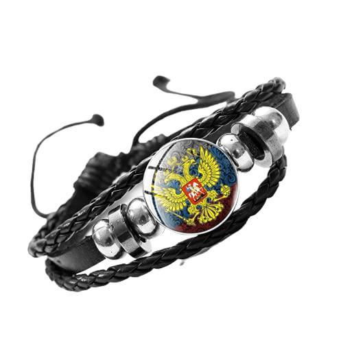 Retro Frontera Tropas de Rusia Pulsera de cuero multicapa trenzado Envoltura masculina Pulsera de joyería rusa Colección recuerdo