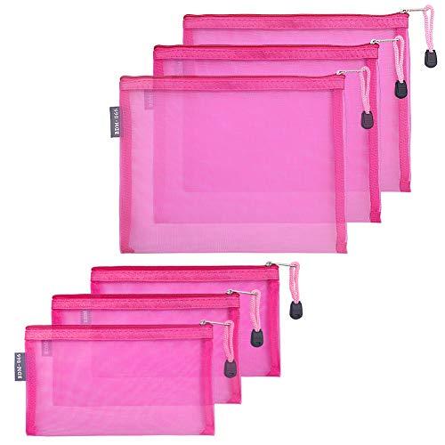 HRX Package Nylon Mesh Makeup Bags with Zipper, 6PCS Cosmetic Pouches Pen Pencil Organizer Case Hot Pink for Travel Purse Diaper Bag (A5 x 3pcs, A6 x 3pcs)