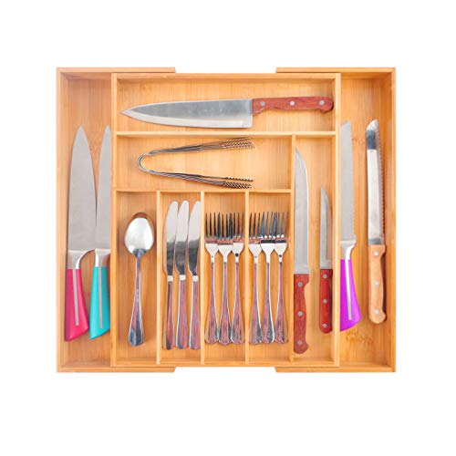 Purenjoy Bamboo Kitchen Expandable Drawer Organizer Utensil Holder Adjustable 79 Compartments Cutlery Storage Tray for Kitchen Bedroom Bathroom Office Desk Etc