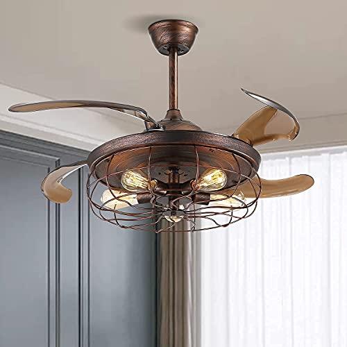XinQing Ventilatore da soffitto Industriale retrò con Luce e Telecomando Ventilatore da soffitto a Pale reversibili Reversibile Lampadario a Ventola in Metallo arrugginito(Size:42 Inches)