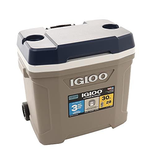igloo(イグルー) クーラーボックス ハンドル・キャスター付き LATITUDE 30 ROLLER 約28.4L ラティテュード アウトドア キャンプ レジャー 釣り サンドストーン 60362 グレー FF