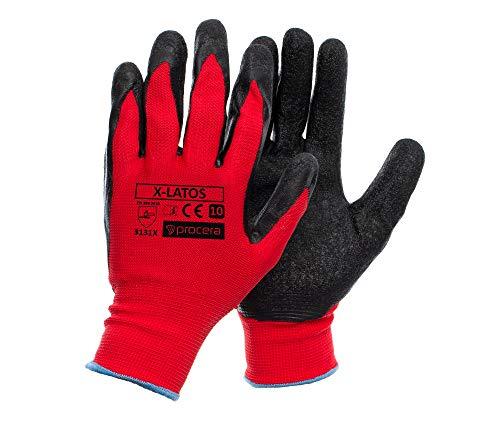 PROCERA X-LATOS Arbeitshandschuhe Herren Latex Handschuhe dehnbar und langlebig Damen wasserbeständig säurebeständig beschichtet; schwarz und rot (12, T10)