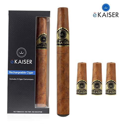 eKaiser E Cigar, Wiederaufladbare elektronische Zigarre mit Cartomizern, 3 Nikotinfreie Goldtabakkartuschen, e-Shisha Starter Kit