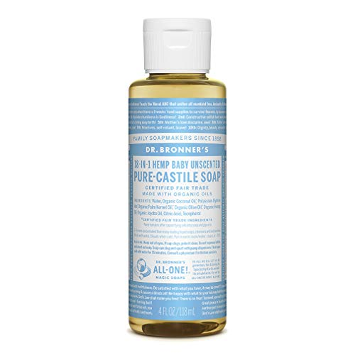 Dr. Bronner's - Pure-Castile Liquid Soap (Baby Unscented, 4 ounce) - Made with Organic Oils, 18-in-1 Uses: Face, Hair, Laundry and Dishes, For Sensitive Skin and Babies, No Added Fragrance, Vegan
