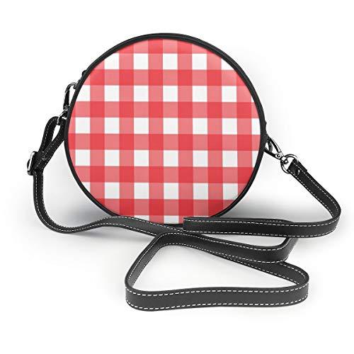 Rood en wit geruit tafelkleed patroon ronde Crossbody portemonnee Crossbodys zakken PU lederen Rits schoudertas mobiele telefoon portemonnee voor vrouwen aangepast