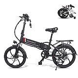Bicicleta eléctrica plegable de 20 pulgadas, para adultos, 48 V, 500 W, con batería de iones de litio extraíble de 48 V, 10,4 Ah, marco de aleación de aluminio (negro)