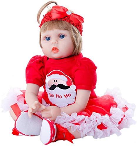 yunge muñeca de Juguete 55cm Soft Silicona recién Nacido bebé muñeca 22 Pulgadas Reborn Babies Muñecas Muñecas Niño Relleno Realista Realista Muñeca Juguetes para Niño - Vestido Rojo de Navidad