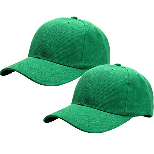 2pcs Baseball Cap for Men Women Adjustable Size Perfect for Outdoor Activities Kelly Green/Kelly Green