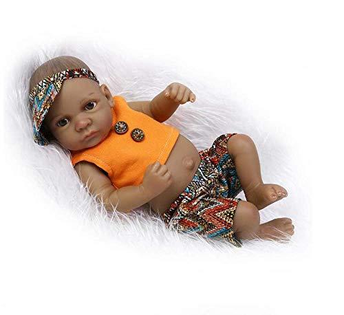 WYZQ Bambola realistica Gemelli Neonati 27 Cm 11 Pollici Bambole Reborn Baby Silicone Africano Originale Baby Realistici Reborn Babies Silicone Full Body Vinile Giocattoli da Bagno Miglior Regalo di