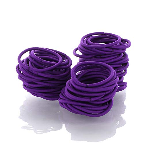 My Lello Hair Elastics Hair Ties, Professional Grade Ponytail Holders - Purple 20 Pack