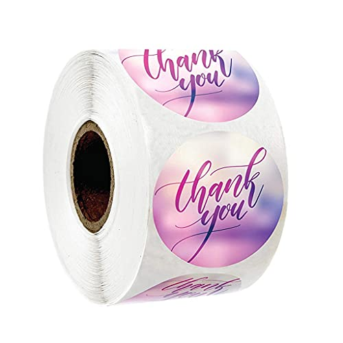 JJZXD 500pcs étiquettes Rondes Kraft Papier Merci Autocollant drages Sac de Bonbons Sac de Cadeau Cadeau de Fleur boîtes de gâteau et Autocollants de Mariage d'emballage (Color : A)