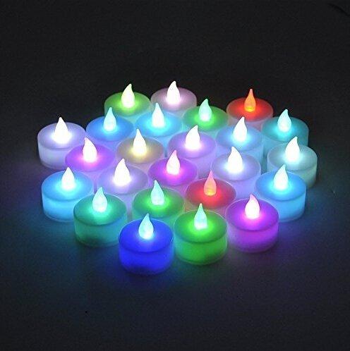 Uhat® Lot de 24 bougies chauffe-plat à LED colorées sans flamme pour célébration, fête, cadeau, Saint-Valentin