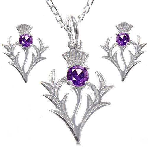 Scottish Jewellery Shop, Distel-Anhänger und Ohrringe, Sterlingsilber, Amethyst, schottisches Geschenk-Set