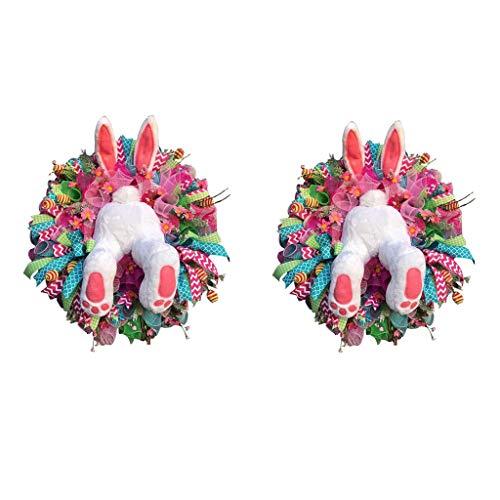 Corona De Pascua Conejo Primavera Conejito Corona Puerta Puerta De Frente Ladrón Guirnalda Conejito Tope Orejas Casero Pared Decoración Exterior Patio