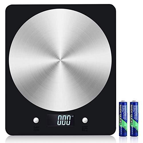 Báscula Digital de Cocina, Diyife11lb / 5kg Báscula electrónica de cocción de Alimentos con Pantalla LCD Báscula de pesaje de Plataforma de Acero Inoxidable Báscula para Hornear y cocinar