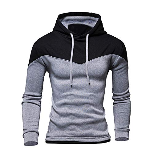 KPILP Herren Herbst Winter Patchwork Basic Langarm-Kapuzen-Sweatshirt Outwear Bluse Kapuzenoberteile(Grau, XL)