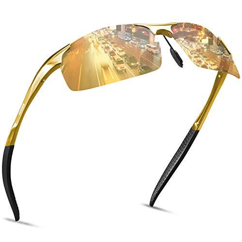 SOXICK Night Driving Glasses for Men Women Anti Glare Rainy Safe HD Night Vision Glasses Polarized Driving G lasses (Golden2)