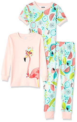Spotted Zebra 3-Piece Snug-Fit Cotton Pajama Pyjama Set, Tropical Flamingo, Small (6-7)