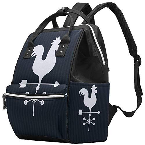 Grand sac à langer multifonction pour bébé, girouette avec motif coq, sac à dos de voyage pour maman et papa