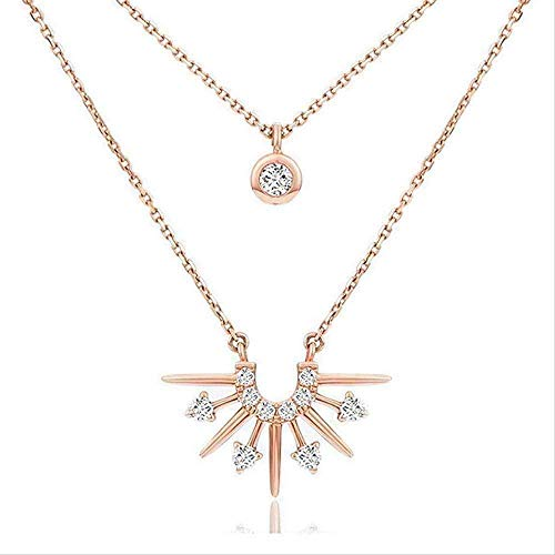 FACAIBA Necklace Woman Elegant Necklace Double Dawn Style Necklace Adjustable Neck Chain Necklace with Micro-Set