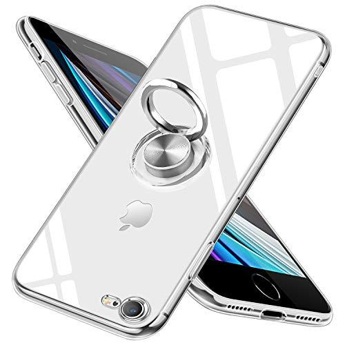 iPhone SE ケース 第2世代 iPhone7 ケース/iPhone8 ケース リング クリア tpu 耐衝撃 スマホケース 透明 薄型 スタンド機能 車載ホルダー 指紋防止 軽量 携帯カバー クリア