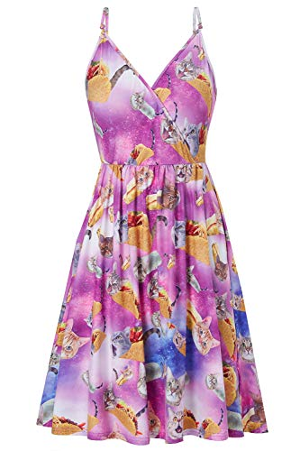 Damen Sommerkleider Vintage Blumen Maxi Kleid Ärmellos Abendkleid Taco Katze Strandkleid Party Chiffon Midi Kleid Swing Kleid Maxikleid S