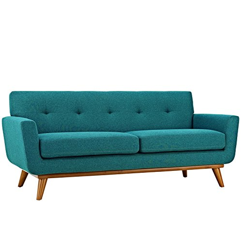 Modway Engage Mid-Century Modern Upholstered Fabric Loveseat In Teal