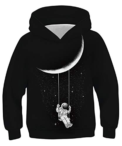 Boys Girls Graphic Hoodies Astronaut Planet Print Hooded Sweatshirt Casual...