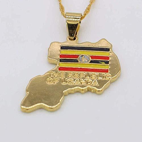 ZGYFJCH Co.,ltd Collar de la República de Uganda, Colgante de Tarjeta, Dorado de Moda para Mujeres/Hombres, joyería de Moda, Colgante de Reloj con Bandera de Uganda