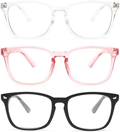 Gaoye 3 Pack Blue Light Blocking Glasses Fashion Square Fake Nerd Eyewear Anti UV Ray Computer product image