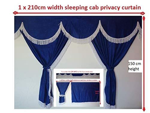LKW-Vorhänge, komplettes Set, Blau mit weißen Bändern, passend für Mercedes, MAN, DAF, VOLVO, Scania, Iveco, Renault.