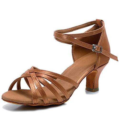 VASHCAME-Zapatos de Baile Latino de Tacón Alto/Medio para Mujer Marrón 39 (Tacón-5cm)