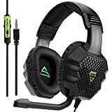 Xbox One, PS4 PS5 Gaming Headset, SUPSOO G811 3.5mm Wired Over Ear Noise Cancelling Gamer Headphones with Mic Volume Control for PC Mac Laptop Computer Games Smartphones