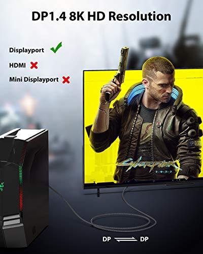 Cable DisplayPort 8K Maxonar 3M/10FT Cable DP 8K@60Hz DP1.4 HBR3 4K@60Hz/144Hz/ 120Hz 5K@60Hz 2K@165Hz/240Hz Soporte… 3