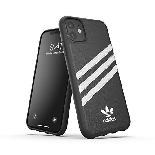 adidas Custodia Originals Compatibile con iPhone 11, Cover Protettiva per Telefono in TPU con Stampa tre Strisce - Nero Bianco