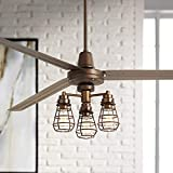 72' Turbina XL Industrial Ceiling Fan with Light Kit LED Dimmable Remote Control Oil Rubbed Bronze 3-Light Bendlin Cage for Living Room Kitchen Bedroom Family Dining - Casa Vieja