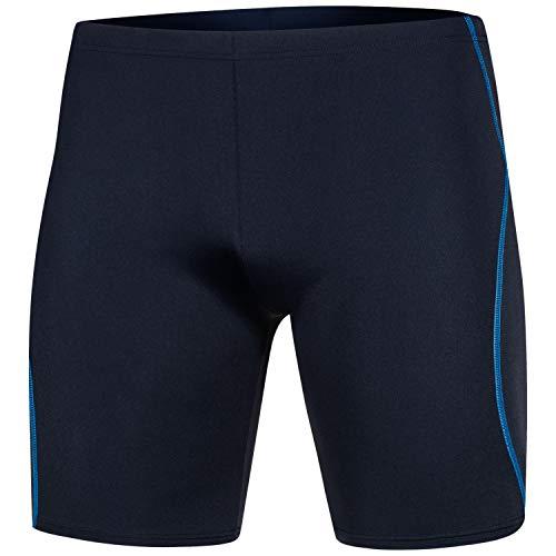 Aqua Speed Enge Schwimmhose Herren + gratis eBook | Moderne knielange Badehosen | Schwimmbekleidung | UV Badepants Jammer | Blake, Gr. M, Navy Blue