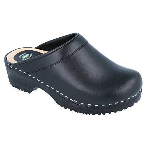 Vollsjo Men's Genuine Leather Wooden Clogs Made in EU, Black,11