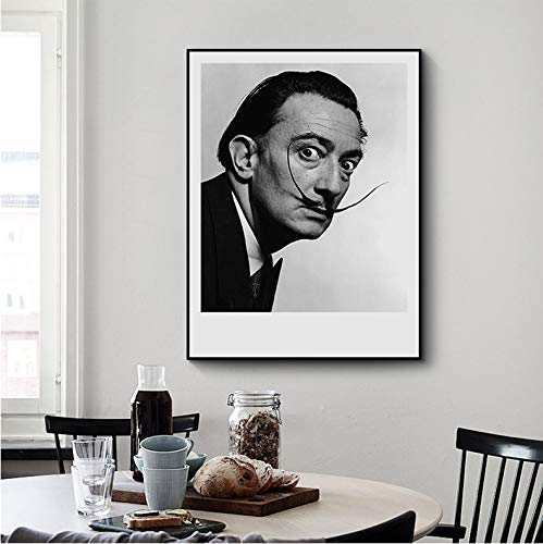 N/ A Salvador Dali - Póster de pared y pósteres de artista español, color blanco y negro 50 x 70 cm A1