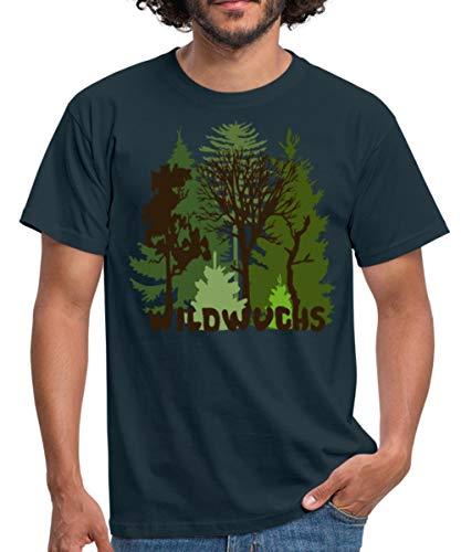Herren Shirt Wald Baum Bäume Wild Wildwuchs Natur Männer T-Shirt, L, Navy