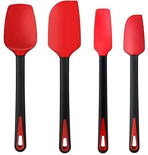 TEEVEA Silicone Spatula Rubber Jar Spoon Spatula Set Kitchen Utensils Non-Stick Heat Resistant for Scraping Cooking Baking Mixing Tools 4 Pack