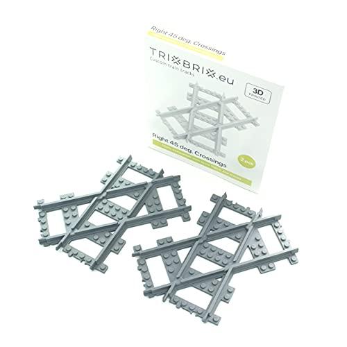 Trixbrix.eu Cruces derecho de 45 grados - 2 piezas compatibles con todos los trenes de la ciudad 60197 60198 60205…