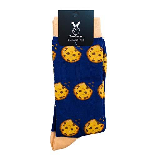 TwoSocks - lustige Socken Damen Herren witzige Strümpfe als Geschenk, Einheitsgröße (Cookies)