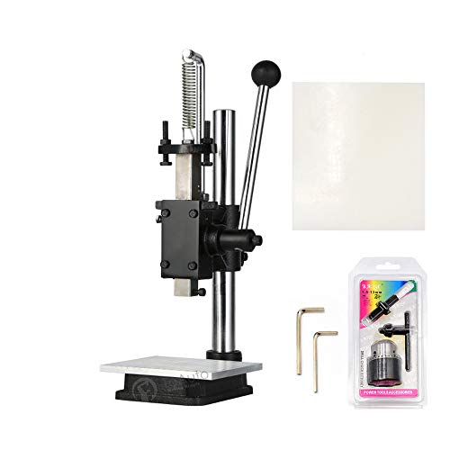 Leather Hole Puncher Hand Punching Machine Manual Press Puncher Punch Tools for DIY Leather Craft Punching Holes (with Chuck, PP Plate and Aluminum plate) (Style D)