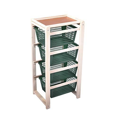 Carrello salvaspazio, cucina, legno naturale chiaro, 4 cestelli in polipropilene, portafrutta 38x32x82h