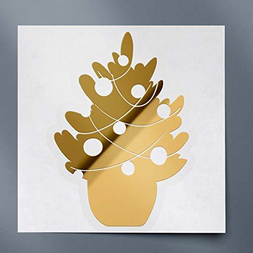 USC DECALS Christmas New Year Tree (Metallic Gold) (Set of 2) Premium Waterproof Vinyl Decal Stickers for Laptop Phone Accessory Helmet Car Window Bumper Mug Tuber Cup Door Wall Decoration